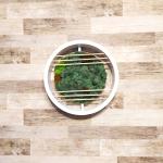 Скандинавски мъх с дървена модификация в кръгла рамка- жив декор за стена